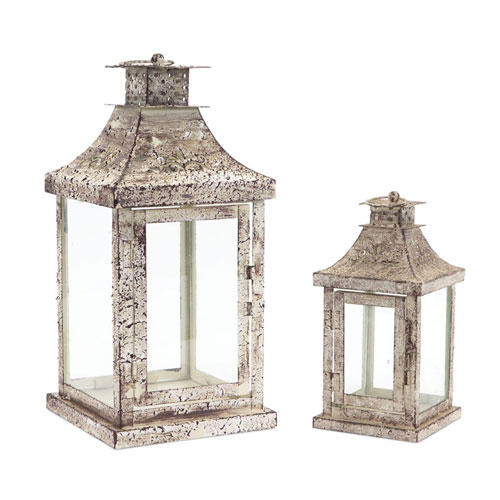 Antique and Cream Lantern, Set of Two