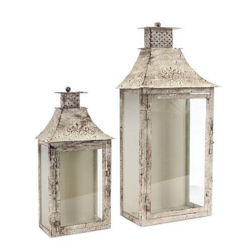 Antique and Cream Lantern, Set of Two