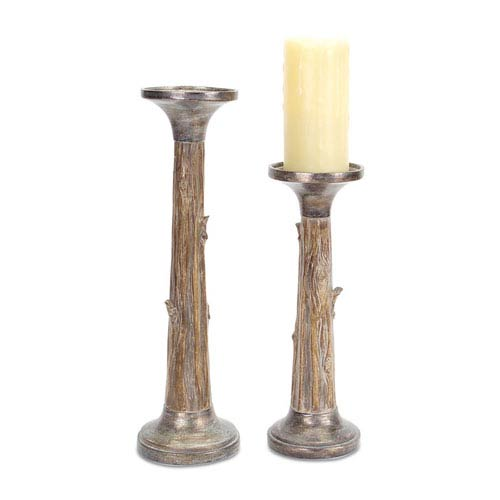 Brown and Silver Tree Trunk Candle Holder, Set of Two