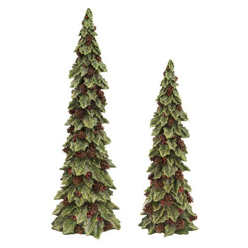 Green, Brown and Red Holly Trees with Pinecone Detail, Set of Two