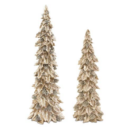Gold and Silver Holly Trees with Pinecone Detail, Set of Two