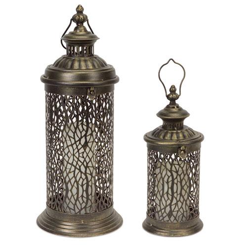 Bronze Lantern with Filigree Detail , Set of Two