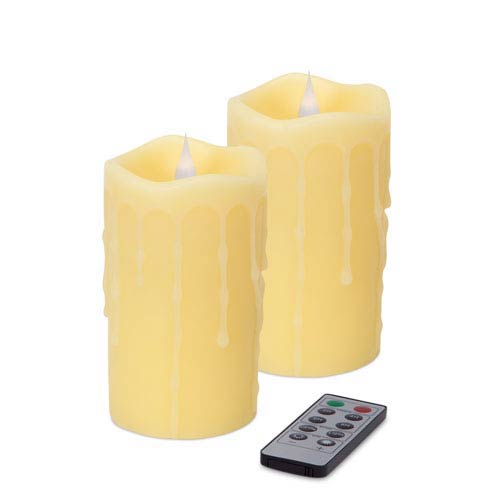 Ivory Simplux LED Dripping Moving Flame Candle, Set of Two with Remote