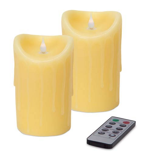 Melrose International Ivory Simplux LED Dripping Moving Flame Candle, Set of Two with Remote