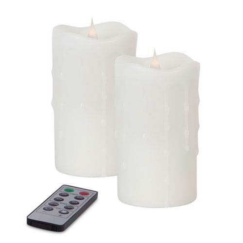 White Simplux LED Dripping Moving Flame Candle, Set of Two with Remote