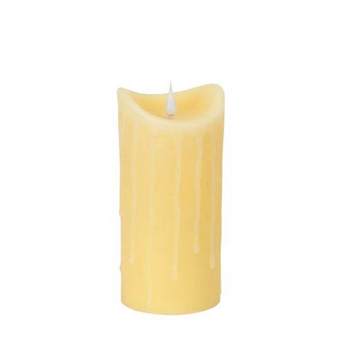Melrose International Ivory Simplux LED Moving Flame Drip Candle with Remote