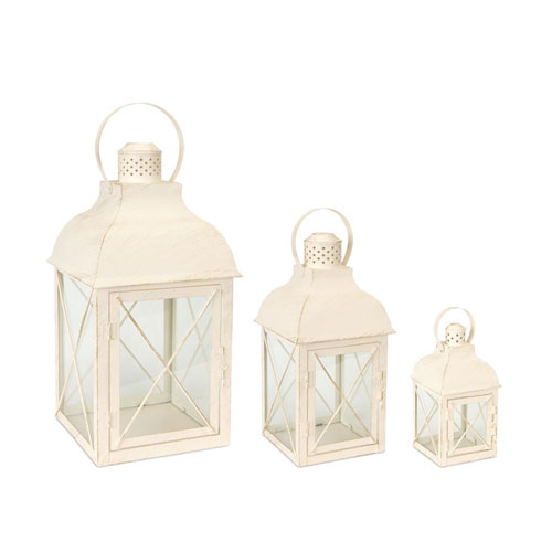 Cream Lantern, Set of Three