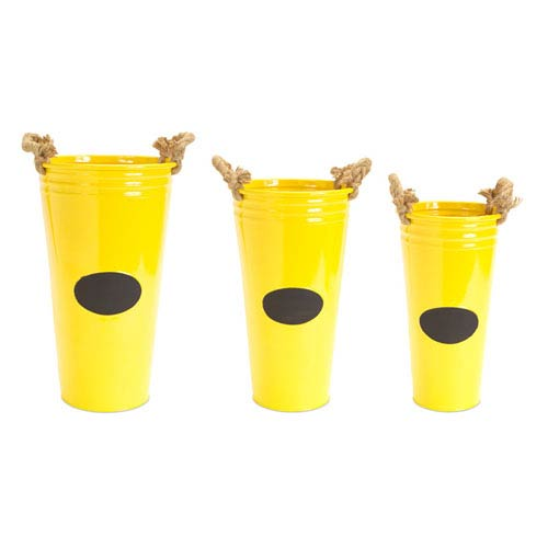 Yellow and Black Buckets with Chalkboard and Rope Handles, Set of Three