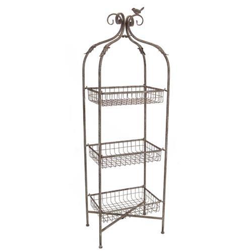 Melrose International Gray Three Tier Basket Stand With Bird Detail