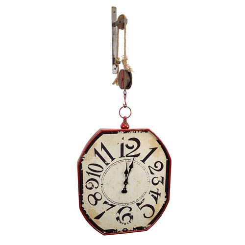Red and Gray Pulley Mounted Wall Clock