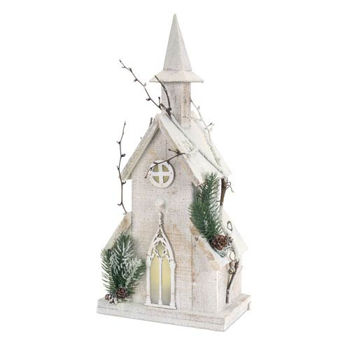 Melrose International White Pre-Lit Wooden Church