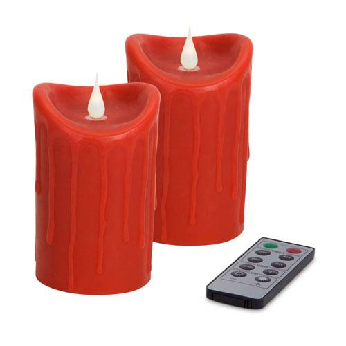 Red Simplux LED Dripping Moving Flame Candle, Set of Two with Remote
