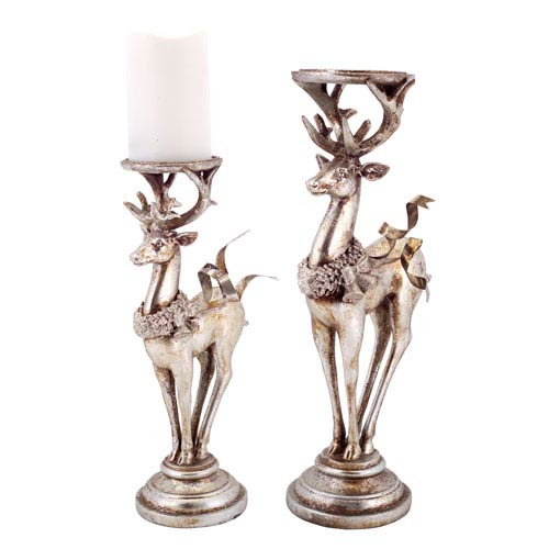 Silver and Platinum Deer Candle Holders, Set of Two
