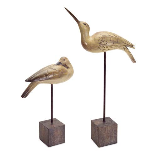 Beige and Brown Bird with Stand Table Piece, Set of Two