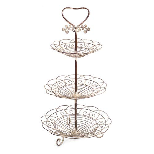 Cream and Rust Three Tiered Basket Stand
