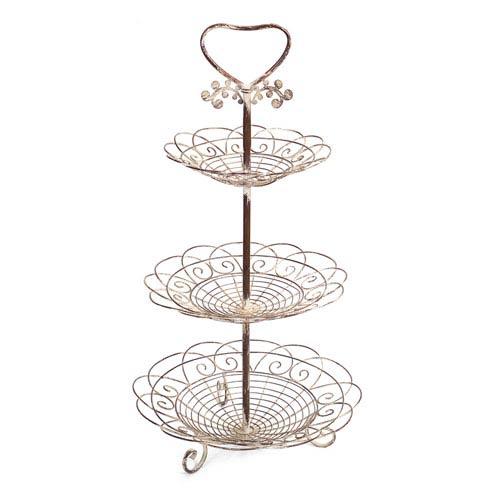 Melrose International Cream And Rust Three Tiered Basket Stand