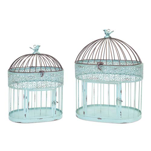 Blue and Rust Ornate Birdcage, Set of Two