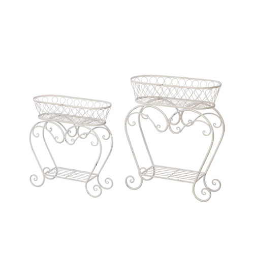 White Oblong Plant Stand, Set of Two