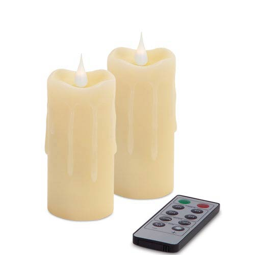 Melrose International Ivory Simplux Votive Moving Flame Candle, Set of Two with Remote