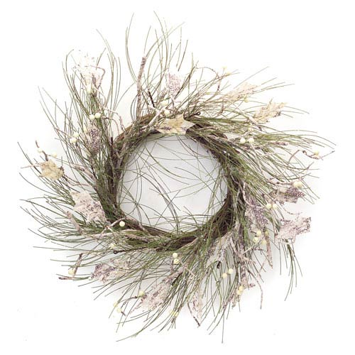 Green and Beige Long Needle Pine and Birch Wreath