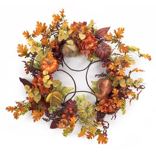 Orange Foliage and Gourd Wreath