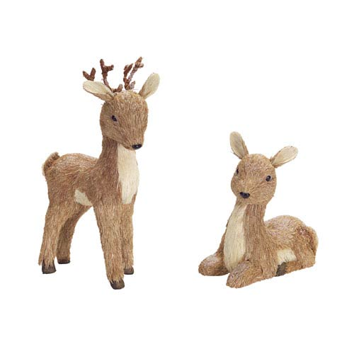 Brown Sisal Deer with Snow, Set of Two