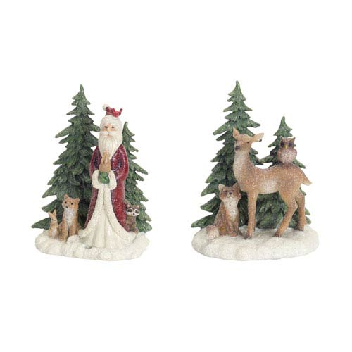 Green and White Deer and Santa with Tree Table Piece, Set of Two