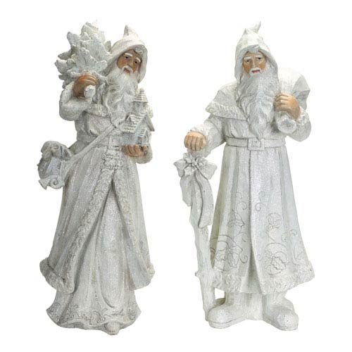 White Winter Santas, Set of Two