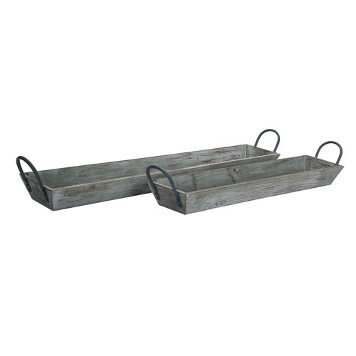 Gray Wooden Tray with Handles, Set of Two
