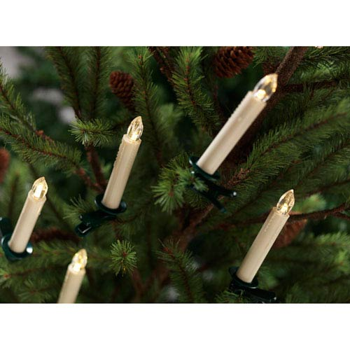 White Tree Taper Candle with Remote, Set of Twelve
