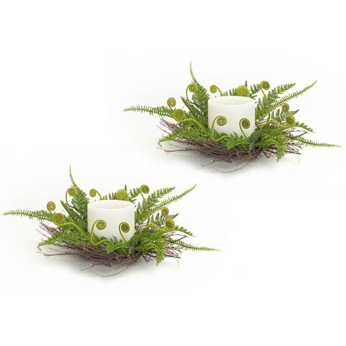 Melrose International Mixed Fern Candle Wreath, Set of Two