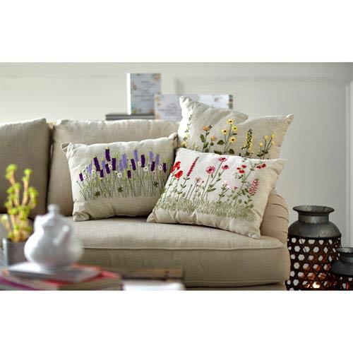 Flower Burlap Pillows, Set of Three