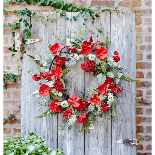 Poppy and Geranium Wreath