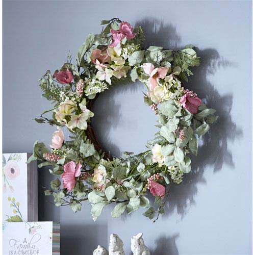 Poppy and Hydrangea Wreath