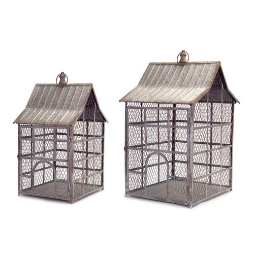 Chicken Wire Bird Cages, Set of Two