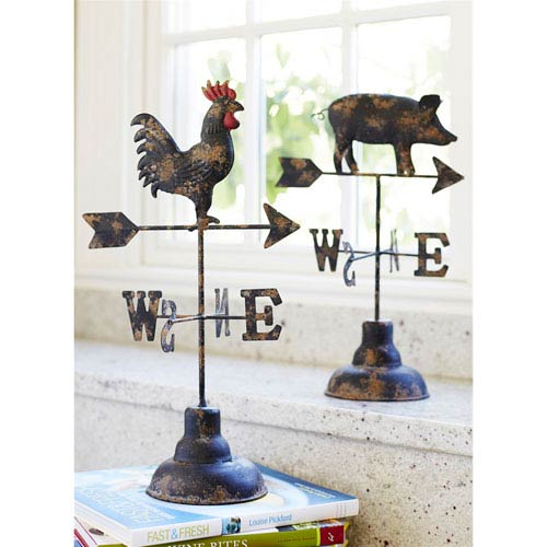 Pig and Rooster Weathervane, set of Two