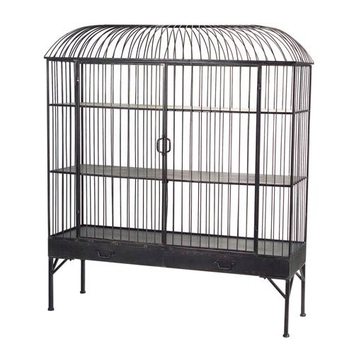 Three-Shelf Birdcage Cabinet with Two-Drawers