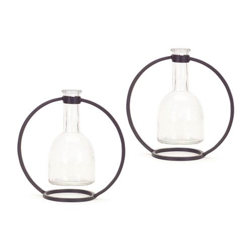 Hanging Vase in Circle Stand, Set of Four