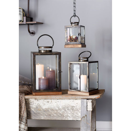 Melrose International Brown and Gray Lanterns, Set of Three
