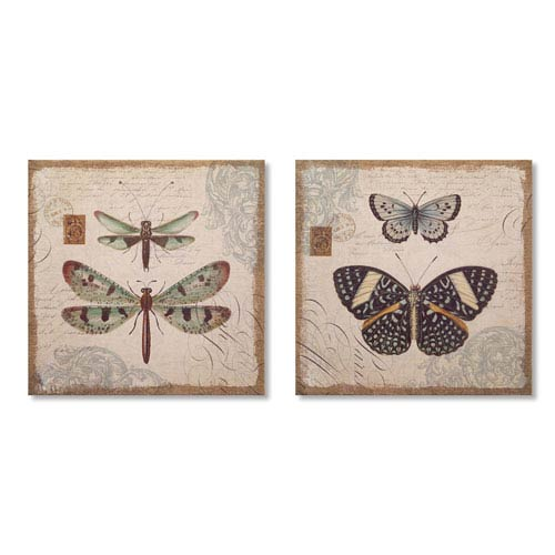 Melrose International Butterfly and Dragonfly Prints, Set of Two