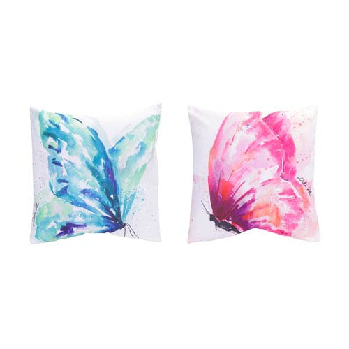 Watercolor Butterfly Pillow, Set of Two