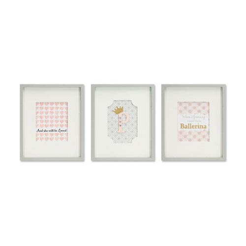 Girl Framed Wall Plaque, Set of Three