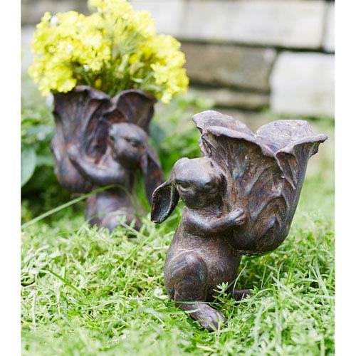 Melrose International Rabbit Carrying Cabbage Bowl, Set of Two