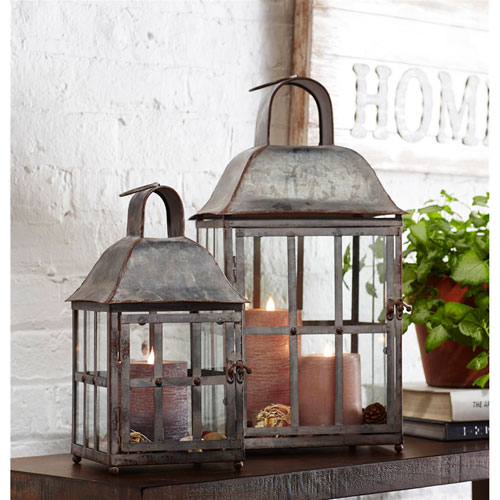 Gray Lanterns, Set of Two