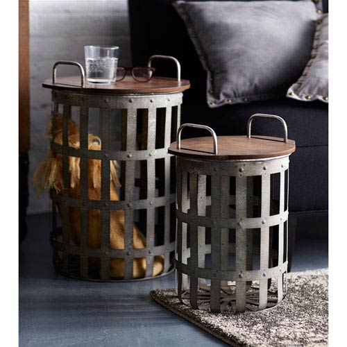 Delicieux Melrose International Gray And Brown Side Tables, Set Of Two