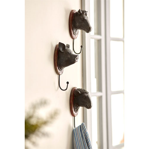 Cow, Pig and Sheep Wall Hangers, Set of Three
