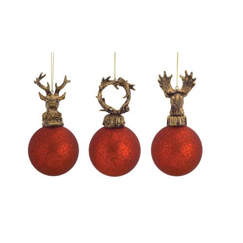Red Antler Top Ornaments, Set of Twelve