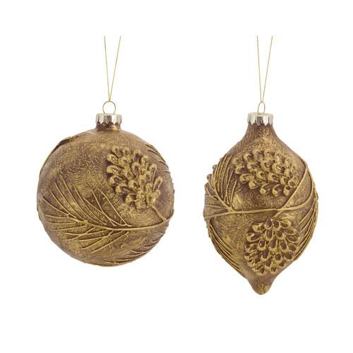 Melrose International Gold Pinecone Ornament, Set of Six