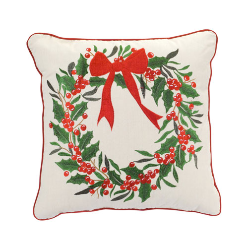 Holly Wreath Pillow, Set of Two