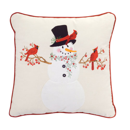 Snowman with Cardinal Pillow, Set of Two